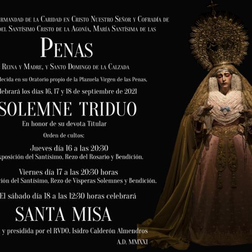 SOLEMNE TRIDUO MARÍA SANTÍSIMA DE LAS PENAS